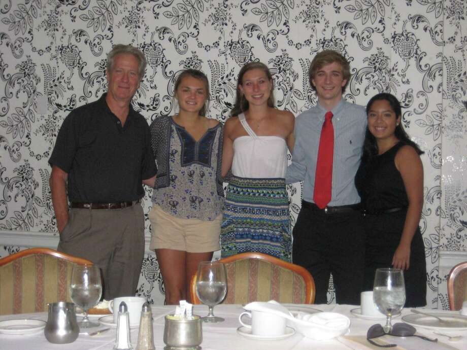 New Canaan High School Kiwanis Club Kenney Scholarship winners Kendall Danforth, Stephanie Benko, Nicholas VanNest and Farah Martin. Photo: Contributed Photo