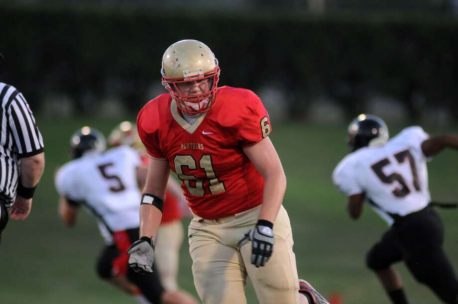 Caney Creek offensive lineman Joseph Staggs works against Porter. Photo: Jerry Baker