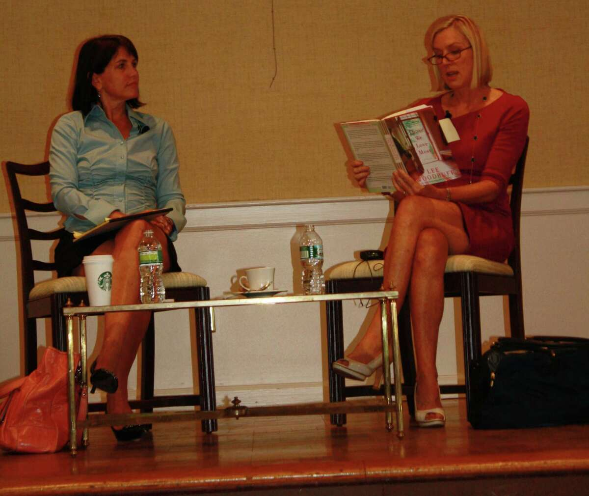 Lee Woodruff reads a passage from her first fiction novel, Those We Love Most, at the book launch held at Darien Community Assication in Darien, Conn. on Sept. 11. Sept. 11, 2012
