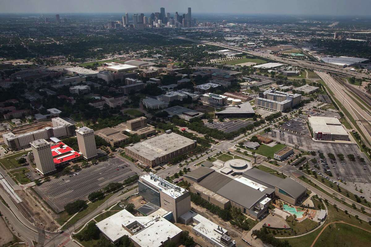 The University of Houston Campus is seen at bottom and the downtown skyline is seen at top in an aerial photo taken on Saturday, May 26, 2012, in Houston.
