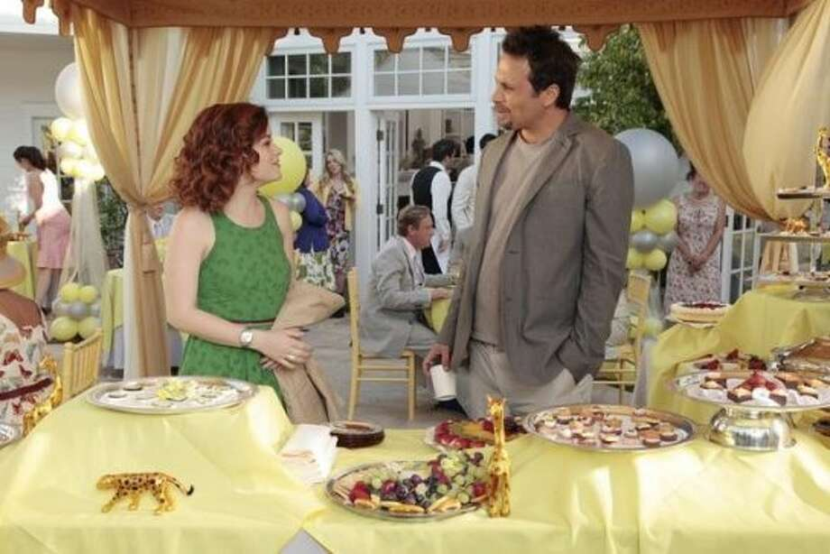 """SUBURGATORY - """"The Motherload"""" - Residences of Chatswin go all out in celebration of their moms, leaving a noticeable void for Tessa, while Dalia chooses to go to Israel without Dallas. Meanwhile George and Eden attend the Lerners' baby shower, and Eden reacts to the endangered animal theme; Fred surprises Sheila with a special performance by her favorite solo artist, and Lisa makes a startling discovery, on the Season Finale of ABC's """"Suburgatory,"""" WEDNESDAY, MAY 16 (8:30-9:00 p.m., ET) on the ABC Television Network. (ABC/RICHARD CARTWRIGHT)JANE LEVY, JEREMY SISTO (ABC)"""