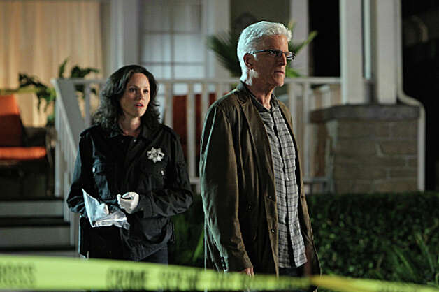 """Karma To Burn""-- Sara Sidle (Jorja Fox, left) watches as D.B. Russell (Ted Danson) gives an angry look in this scene, on the 13th season premiere of CSI: CRIME SCENE INVESTIGATION, Wednesday, Sept. 26 (10:00 – 11:00 PM, ET/PT) on the CBS Television Network. Photo: Monty Brinton/CBS ©2012 CBS Broadcasting, Inc. All Rights Reserved. Photo: MONTY BRINTON / Ã?©2012 CBS Broadcasting, Inc. All Rights Reserved."