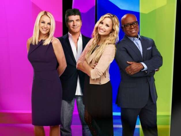 THE X FACTOR: L-R: Britney Spears, Simon Cowell, Demi Lovato and L.A. Reid. CR: Nino Munoz / FOX.