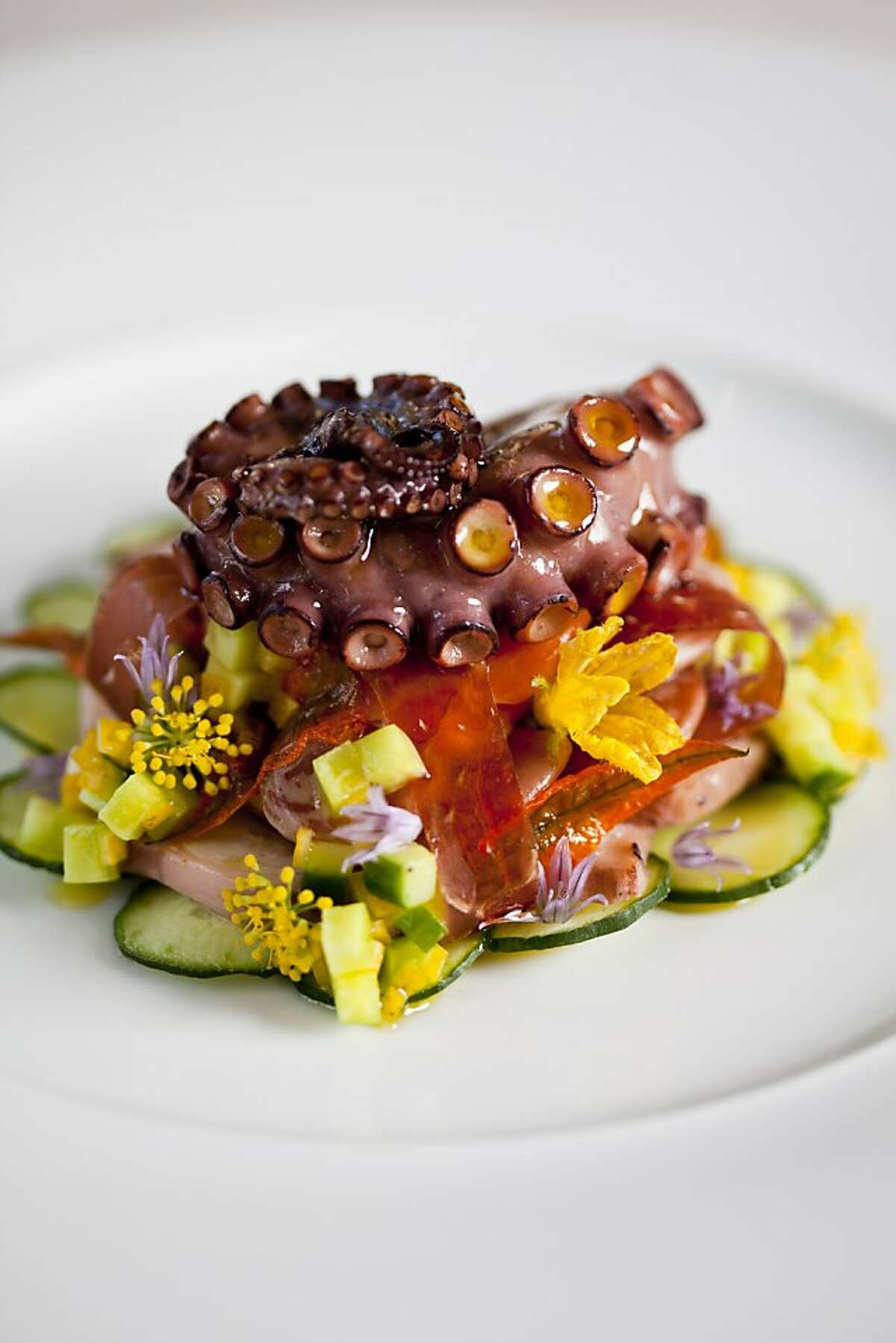 Octopus salad with christmas lima bean, cucumber, mangalitsa jamon, local king salmon belly and preserved lemon relish at Marinus restaurant at Bernardus Lodge in Carmel, Calif., Friday, September 7, 2012.