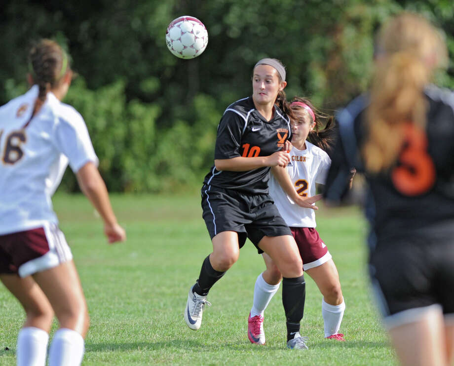 Bethlehem's Kaylee Rickert stops the ball during a soccer game against Colonie Tuesday, Sept. 11, 2012 in Colonie, N.Y. (Lori Van Buren / Times Union) Photo: Lori Van Buren, Albany Times Union / 00019199A