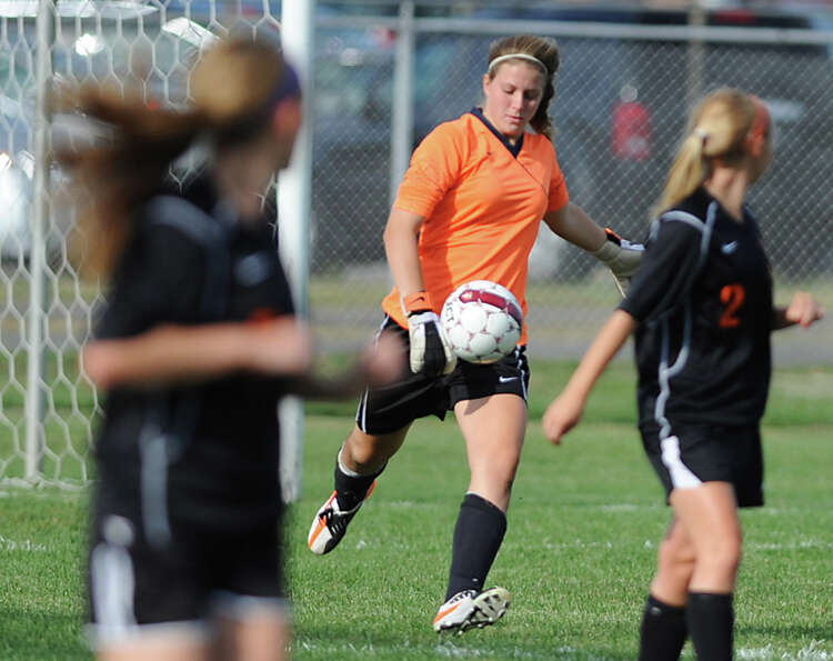 Bethlehem goalie Katie Nickles sends the ball down the field during a soccer game against Colonie Tu