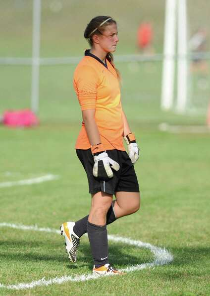 Bethlehem goalie Katie Nickles waits for the action to come her way during a soccer game against Col
