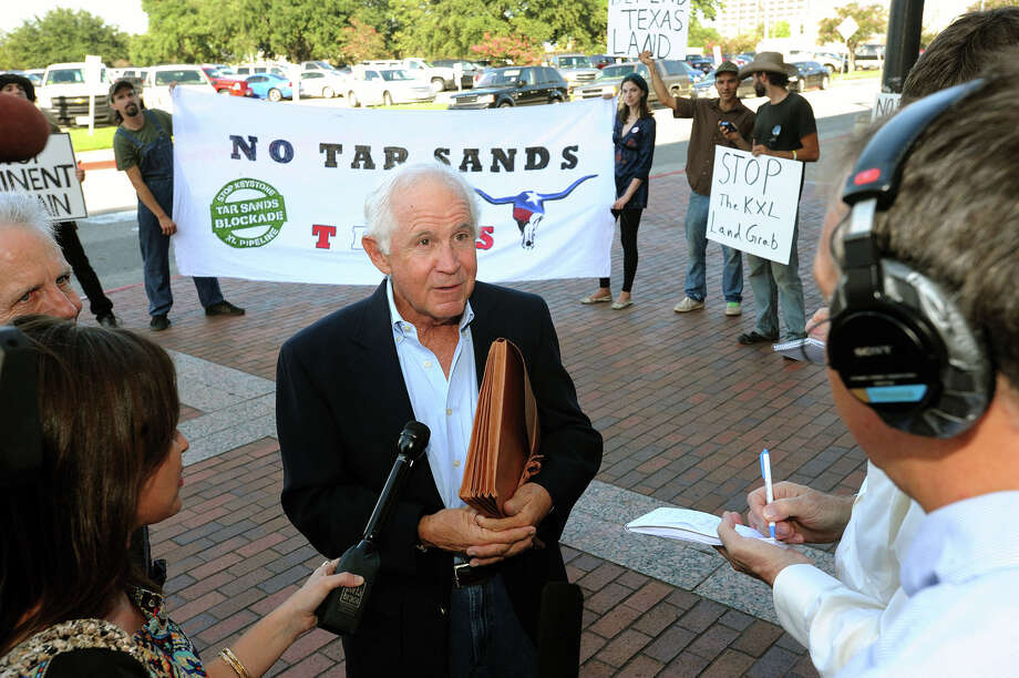Jefferson County landowner David C. Holland says TransCanada and its Keystone XL pipeline project is bullying him into accepting what he said is an inadequate compensation. Holland added the environmental protections for the pipeline also are insufficient. However, a Wednesday court hearing focused on a narrower issue of TransCanada's right to proceed with its project across private land. A ruling will not be issued until Sept. 24.     Photo taken Wednesday, September 12, 2012 Guiseppe Barranco/The Enterprise Photo: Guiseppe Barranco, STAFF PHOTOGRAPHER / The Beaumont Enterprise