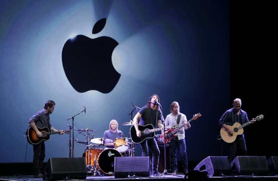 The Foo Fighters perform during an Apple event in San Francisco, Wednesday, Sept. 12, 2012. (Jeff Chiu / Associated Press)