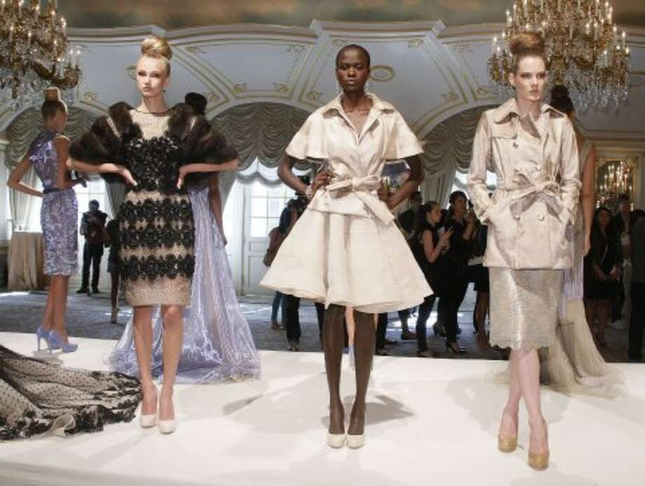 Models attends the Dennis Basso spring 2013 presentation during Mercedes-Benz Fashion Week at the St. Regis Hotel on September 11, 2012 in New York City.  (Janette Pellegrini / Getty Images)