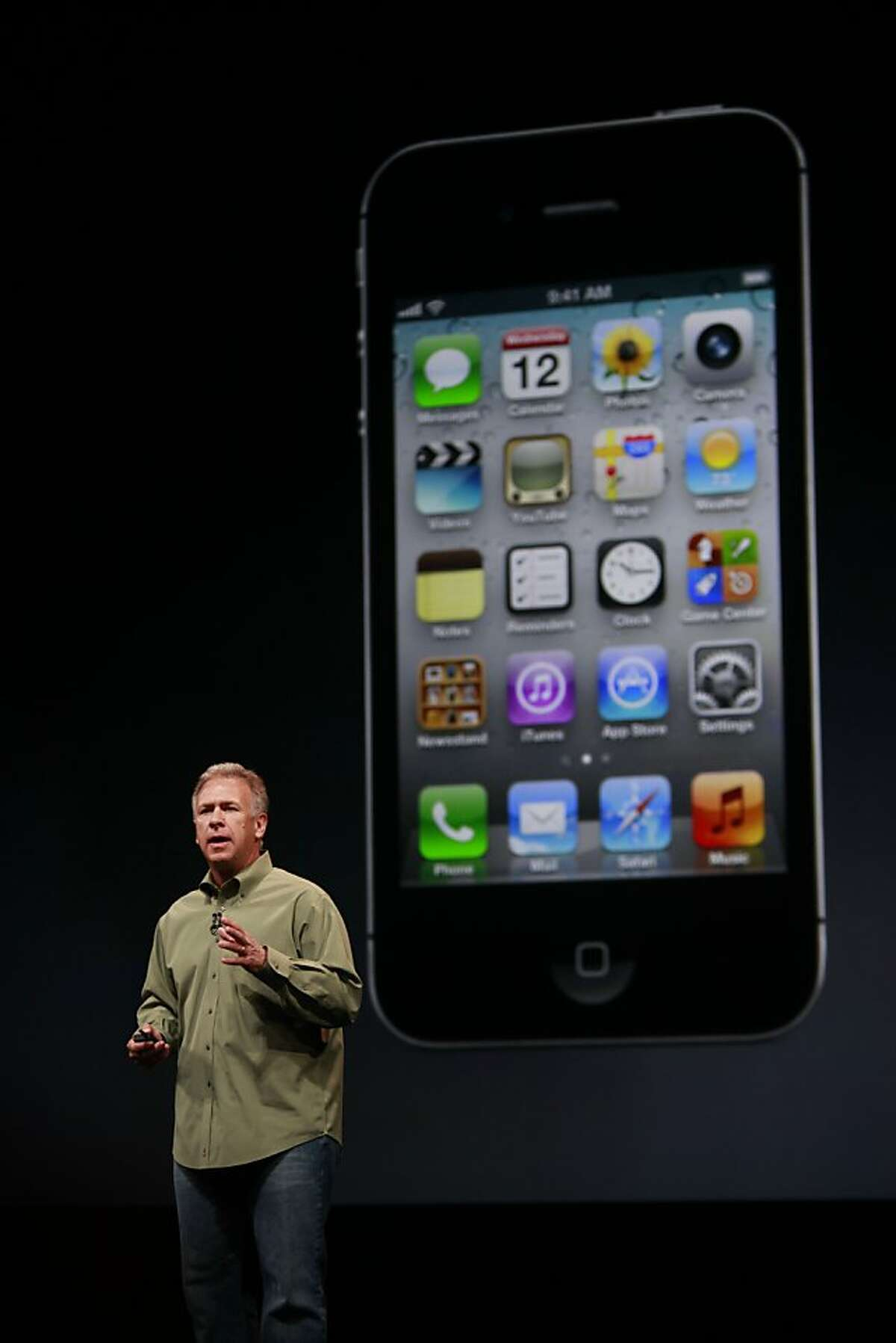 Apple's senior vice president of Worldwide Marketing, Philip Schiller introduces the new iPhone 5 at the Yerba Buena Center for the Arts on Wednesday Sep. 12, 2012 in San Francisco, Calif. The new phone features a larger screen a faster network and an updated operating system called iOS6.