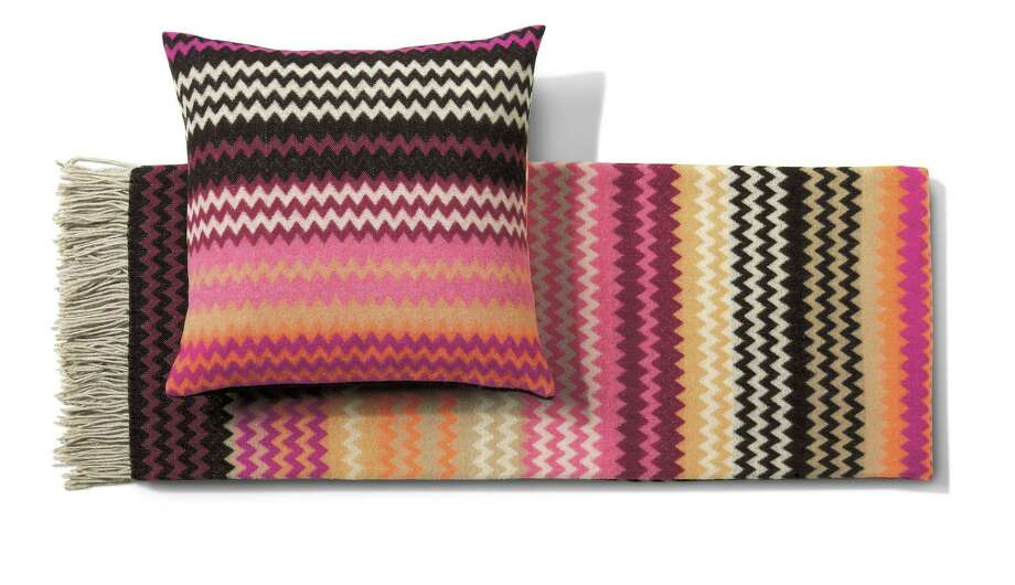 Missoni Home Humbert throw, $475, and pillow, $175,  at www.missonihome.com Photo: Missoni Home