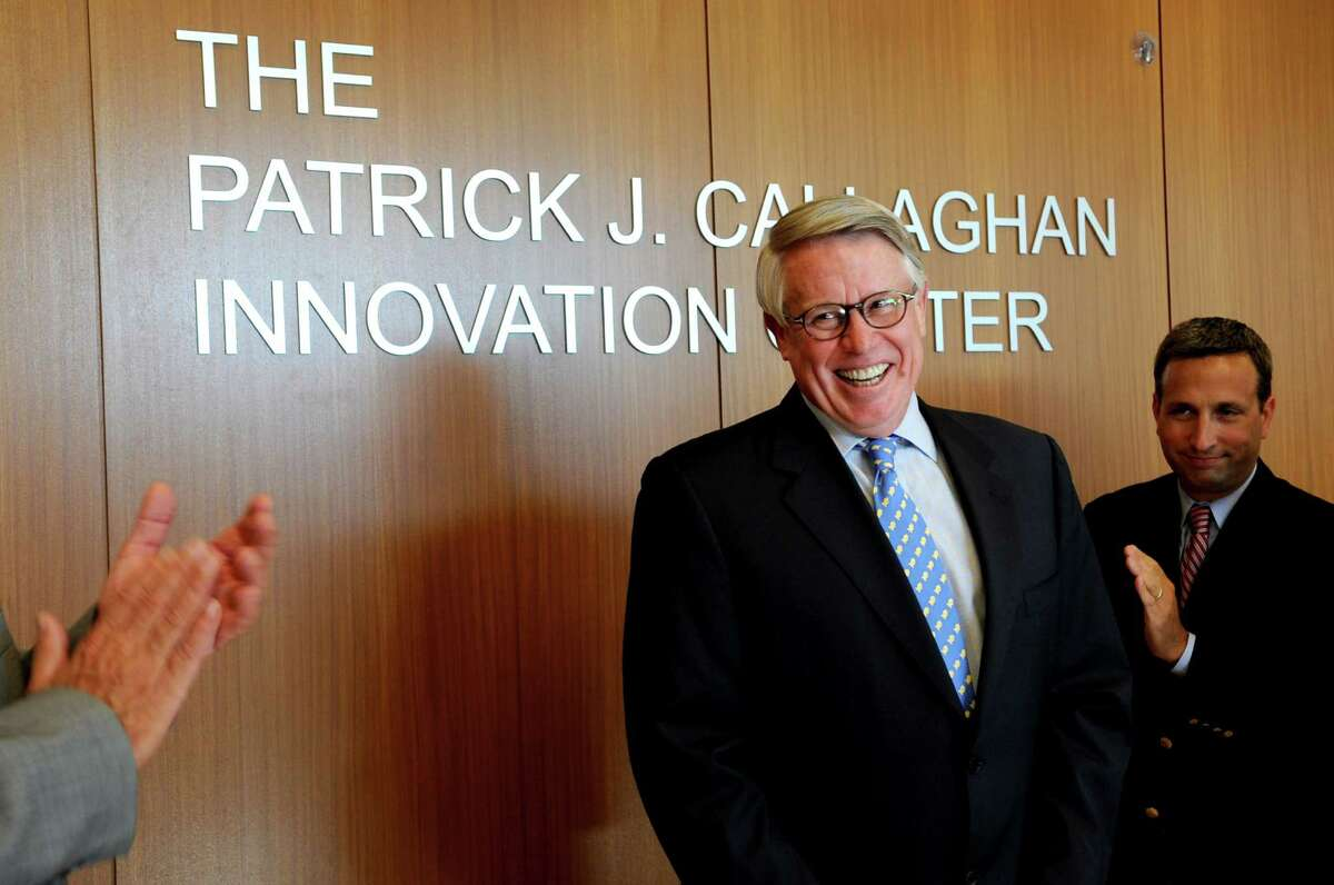 Pat Callaghan, former President of Pepperidge Farm, smiles as the name of the new building is unveiled as the Patrick J. Callaghan Innovation Center during the Pepperidge Farm Innovation Center grand opening ceremony in Norwalk on Wednesday, September 12, 2012.