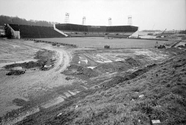 This 1969 photo shows renovation of historic Sicks' Stadium for the Seattle Pilots, Seattle's first Major League baseball team. The park, where Lowe's Hardware is now on Rainier Avenue South, opened in 1938 and was demolished in 1979. These images – most of which were not previously published – were found in summer 2012 and scanned by the Museum of History and Industry, which has preserved P-I negatives after several large donations since 1976. MOHAI's new South Lake Union location opens to the public Dec. 29. Photo: MOHAI/Seattle Post-Intelligencer Collection