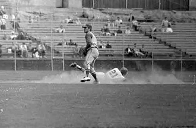 A recently discovered image from a Seattle Pilots game against Oakland, May 1969. Photo: MOHAI/Seattle Post-Intelligencer Collection