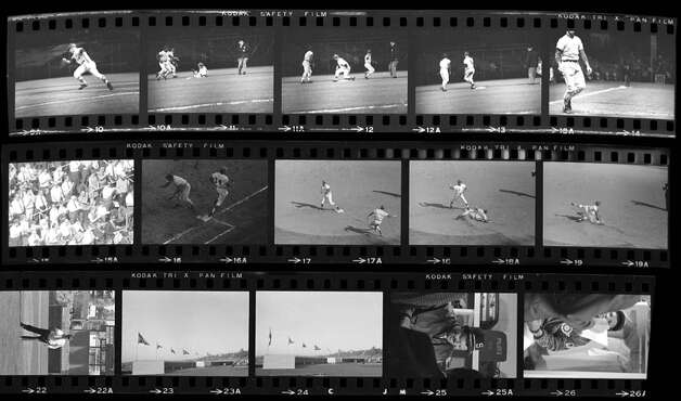 A proof sheet of negatives from the Seattle Pilots spring training, 1969. Most of these images have never been published. Photo: MOHAI/Seattle Post-Intelligencer Collection