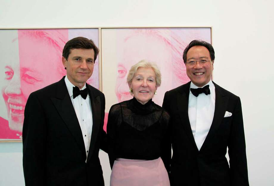 Josef Helfenstein, from left, Adelaide de Menil and  cellist Yo-Yo Ma at a special Menil Collection dinner and concert on Sept. 11. Photo: Cameron Blaylock