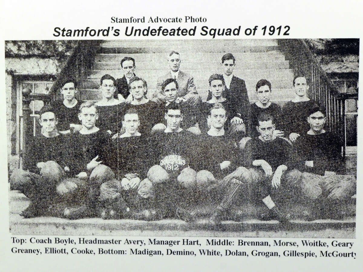 A Stamford Advocate photo of Stamford's 1912 undefeated football squad that was featured in the exhibition
