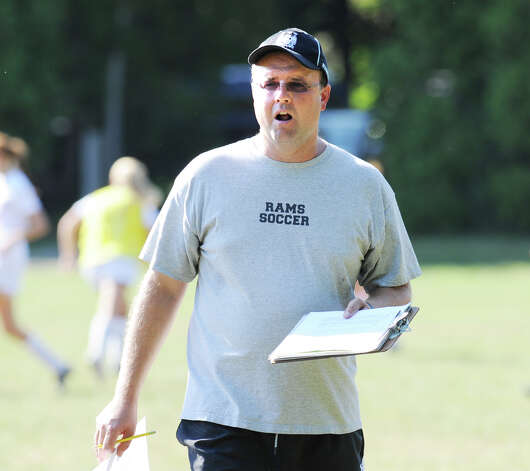 New Canaan High School girls soccer coach Kirk Bamford during the girls high school soccer match between Greenwich High School and New Canaan HIgh School at New Canaan, Wednesday, Sept. 12, 2012. Photo: Bob Luckey / Greenwich Time