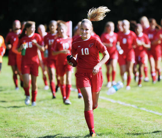 Emily Johnson # 10 of Greenwich High School during the girls high school soccer match between Greenwich High School and New Canaan HIgh School at New Canaan, Wednesday, Sept. 12, 2012. Photo: Bob Luckey / Greenwich Time