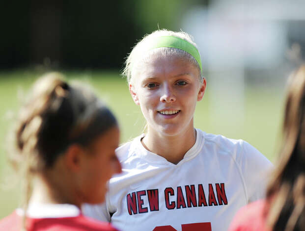 Kelly Armstrong # 25 of New Canaan during the girls high school soccer match between Greenwich High School and New Canaan HIgh School at New Canaan, Wednesday, Sept. 12, 2012. Photo: Bob Luckey / Greenwich Time