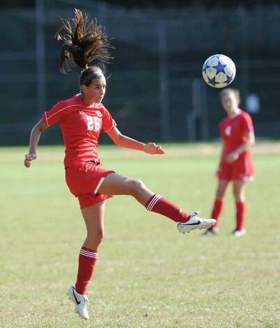 Emma Christie # 26 of Greenwich High School during the Girls high school soccer match between Greenwich High School and New Canaan HIgh School at New Canaan, Wednesday, Sept. 12, 2012. Photo: Bob Luckey / Greenwich Time