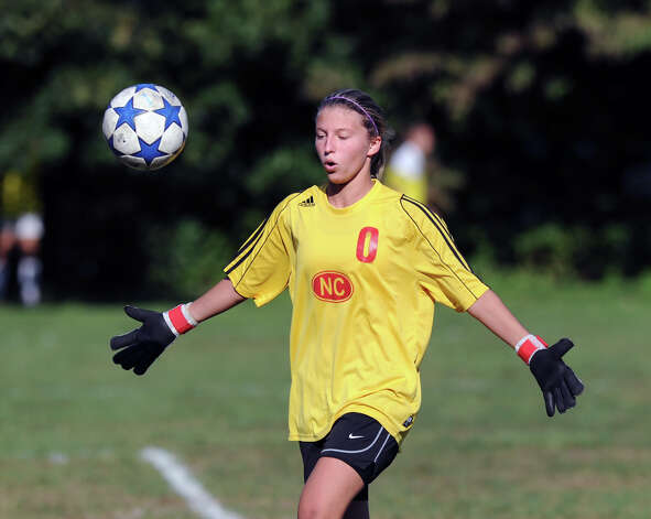 New Canaan goalie Alexandra Yuditski during the girls high school soccer match between Greenwich High School and New Canaan HIgh School at New Canaan, Wednesday, Sept. 12, 2012. Photo: Bob Luckey / Greenwich Time