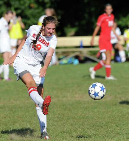 Anna Borea # 19 of New Canaan during the girls high school soccer match between Greenwich High School and New Canaan HIgh School at New Canaan, Wednesday, Sept. 12, 2012. Photo: Bob Luckey / Greenwich Time