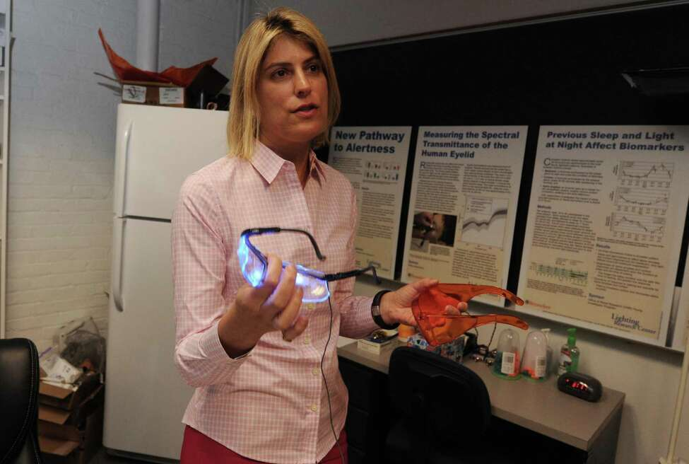 Mariana Figueiro, associate professor at RPI and director of the LRC's Light and Health program, tested the effects of self-luminous tablets on melatonin suppression at the college in Troy, NY Tuesday Sept. 11, 2012. (Michael P. Farrell/Times Union)