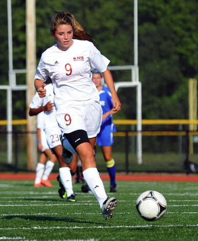 St. Joseph's #7 Katie Danaher, during girls soccer action against Fairfield Ludlowe in Trumbull, Conn. on Tuesday September 12, 2012. Photo: Christian Abraham / Connecticut Post