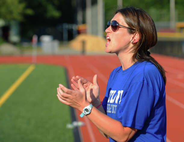 Fairfield Ludlowe's Head Coach Kate Dawson, during girls soccer action against St. Joseph in Trumbull, Conn. on Tuesday September 12, 2012. Photo: Christian Abraham / Connecticut Post