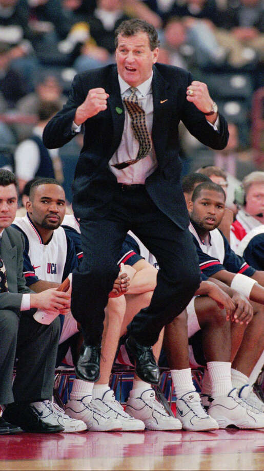 Connecticut coach Jim Calhoun reacts to a call in the second half against Colgate in the first round of the NCAA Southeast Regional in Indianapolis on Thursday, March 14, 1996. Connecticut went on to win the game 68-59. Photo: PHIL MYERS, AP Photo/Phil Myers / AP1996 Associated Press