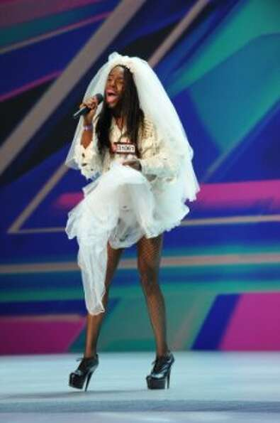 THE X FACTOR: Quatrele Da'an Smith performs in front of the judges on part-one of the two night seas