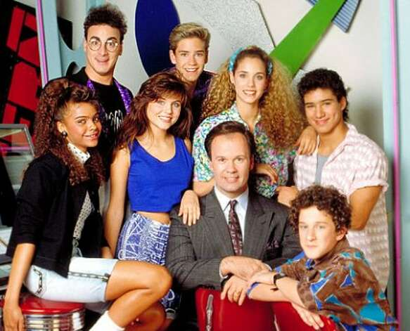 """Saved by the Bell,"" the 1989-93 NBC sitcom about teenagers at Bayside High School, starred Lark Voorhies (left), Tiffani-Amber Thiessen, Mark-Paul Gosselaar, Elizabeth Berkley, Mario Lopez and Dustin Diamond. (NBC)"