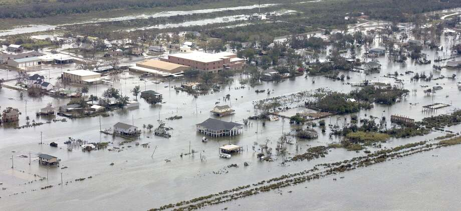 Hurricane Ike's storm surge beginning to recede at Sabine Pass a couple of days after the hurricane blew through in September, 2008. Enterprise file photo / Beaumont