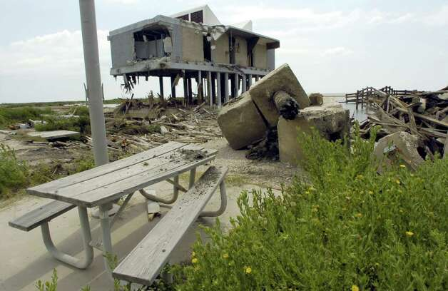 This is the what was left of the Sea Rim State Park Welcome Center that was heavily damaged by Hurricane Rita,and never fully repaired before it took a major blow from Hurricane Ike in 2008. Enterprise file photo Photo: File / Beaumont