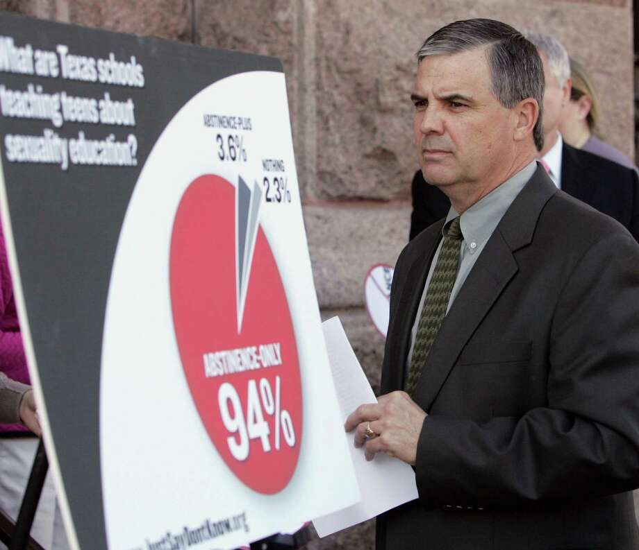 David Wiley, professor of health education at Texas State University-San Marcos, pauses before speaking about sex education at a Texas Freedom Network news conference outside the Capitol Tuesday, Feb. 24, 2009, in Austin, Texas.   (AP Photo/Harry Cabluck) Photo: Harry Cabluck / AP