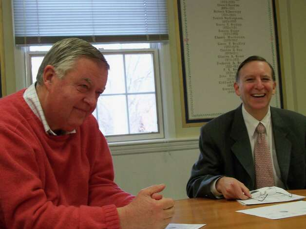 Former Fiscal Officer Paul Hiller, left, during happier times in Fairfield in this 2010 photo with former and First Selectman Kenneth Flatto. Photo: Genevieve Reilly, File Photo / Fairfield Citizen