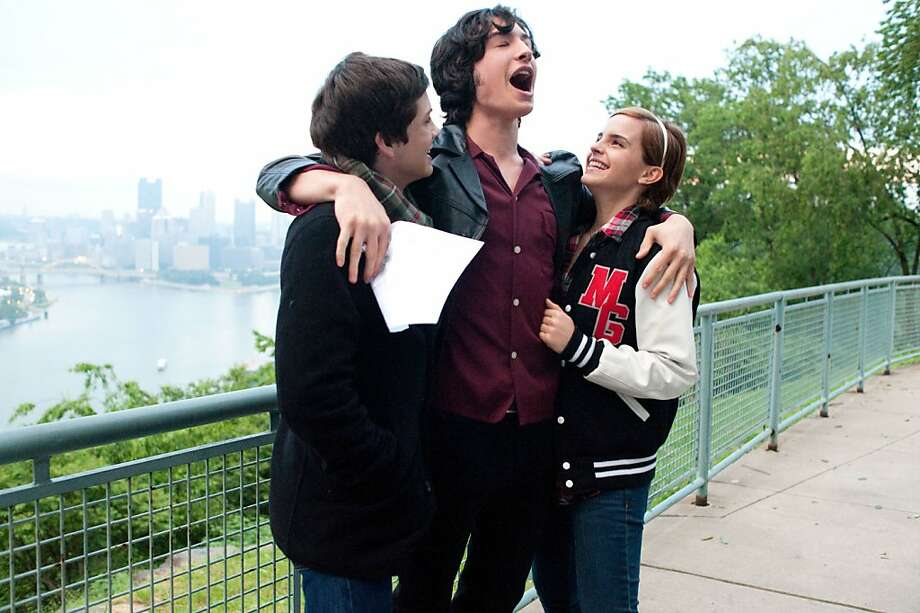 "Logan Lerman (left), Ezra Miller and Emma Watson celebrate ""The Perks of Being a Wallflower."" Photo: Summit Entertainment"