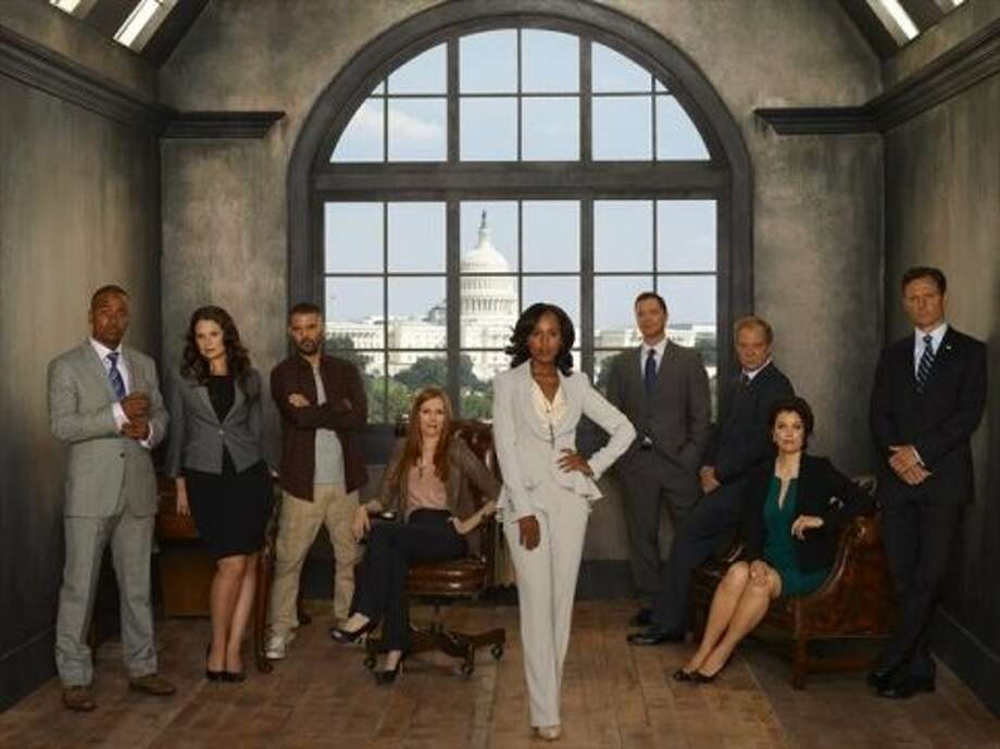 "Jeff Perry plays Cyrus Beene, third from right, the White House chief of staff and a gay character on ""Scandal."" (ABC)"