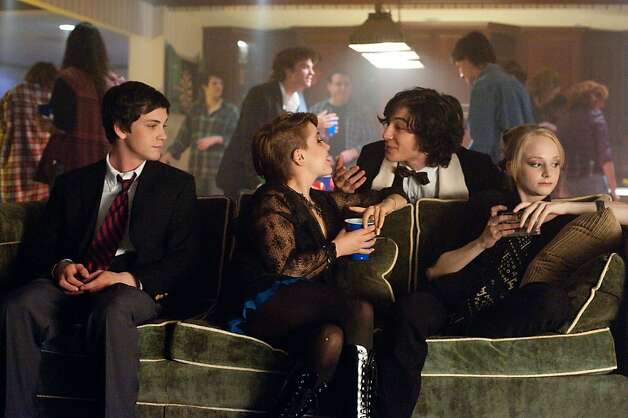 "Logan Lerman (left), Mae Whitman, Ezra Miller and Erin Wilhelm in ""The Perks of Being a Wallflower."" Photo: Summit Entertainment"