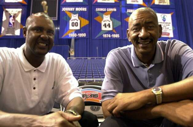 Johnny Moore and George Gervin photographed at the Alamodome Monday May 21, 2001.Both have coached minor league basketball teams that have done well. (SAN ANTONIO EXPRESS-NEWS)