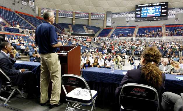 University of Connecticut basketball coach Jim Calhoun announces his retirement at a news conference at Gampel Pavilion on September 13, 2012 in Storrs, Connecticut. Photo: Winslow Townson, Winslow Townson/Getty Images / 2011 Getty Images