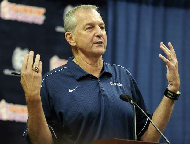 University of Connecticut basketball coach Jim Calhoun announces his retirement during a press conference at Gampel Pavilion at the UConn campus in Storrs, Conn. on Thursday, September 13, 2012. Photo: Autumn Driscoll / Connecticut Post