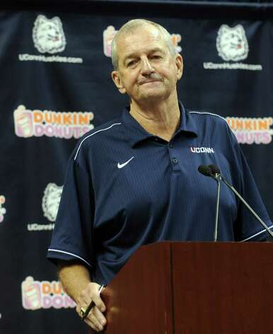 Former University of Connecticut basketball coach Jim Calhoun addresses the media at Harry A. Gampel Pavilion in Storrs, Conn. on Thursday, Sept. 13, 2012. Photo: Autumn Driscoll / Connecticut Post