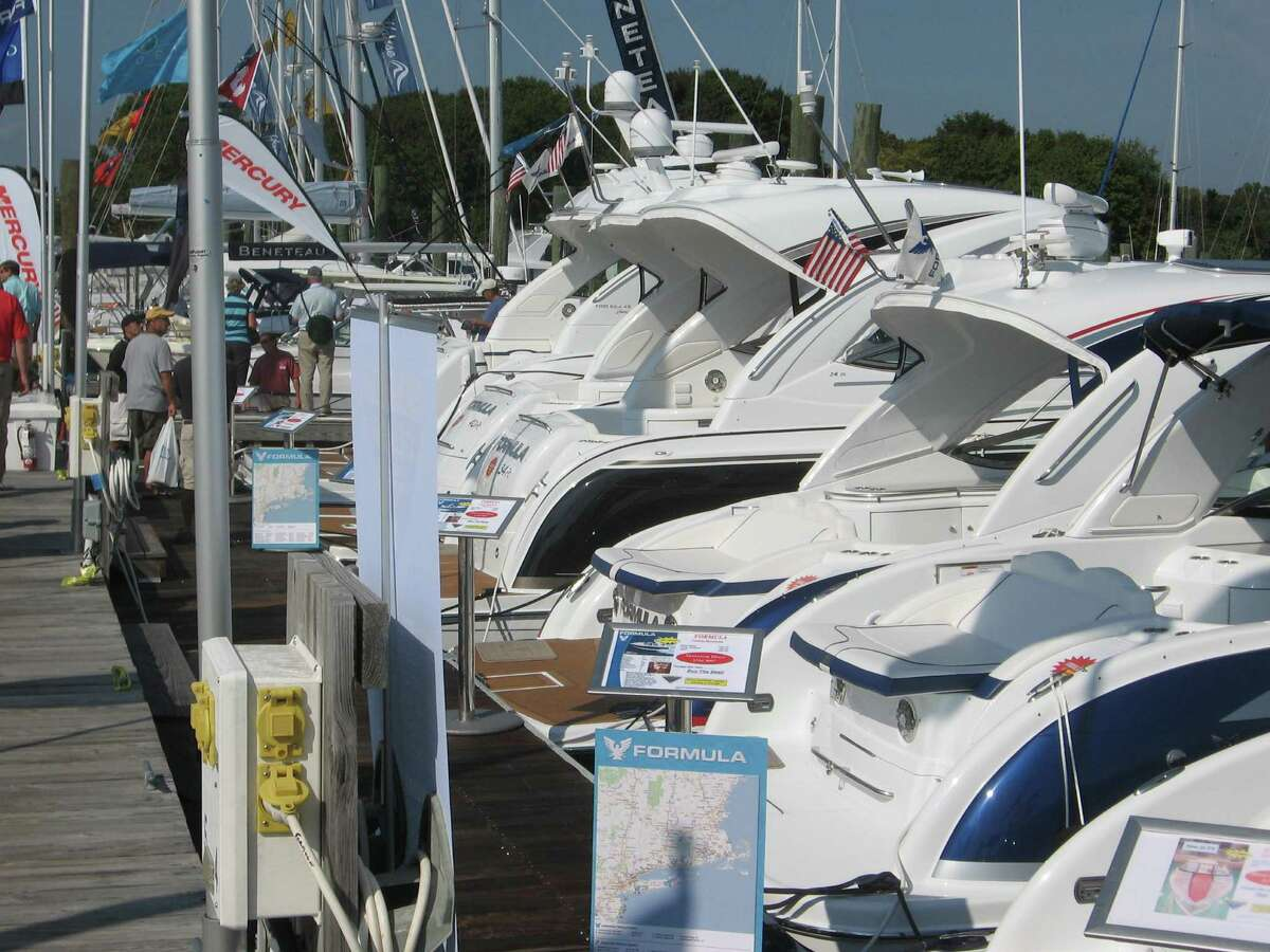 Boats on display at the Norwalk Boat Show last year. This year's show will run from Sept. 20-23 at the Norwalk Cover Marina, featuring 250 exhibitors.