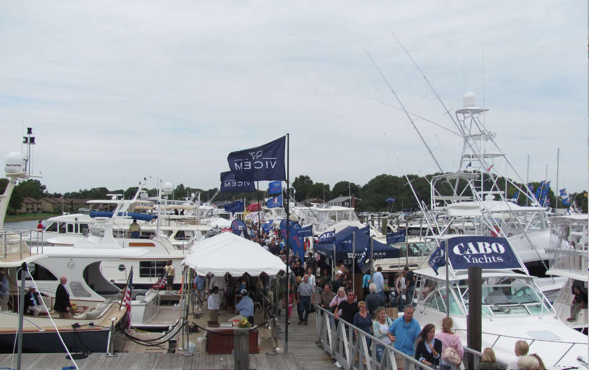 Boats on display at the Norwalk Boat Show last year. This year's show will be held at the Norwalk Cove Marina from Sept. 20-23, featuring 250 exhibitors.