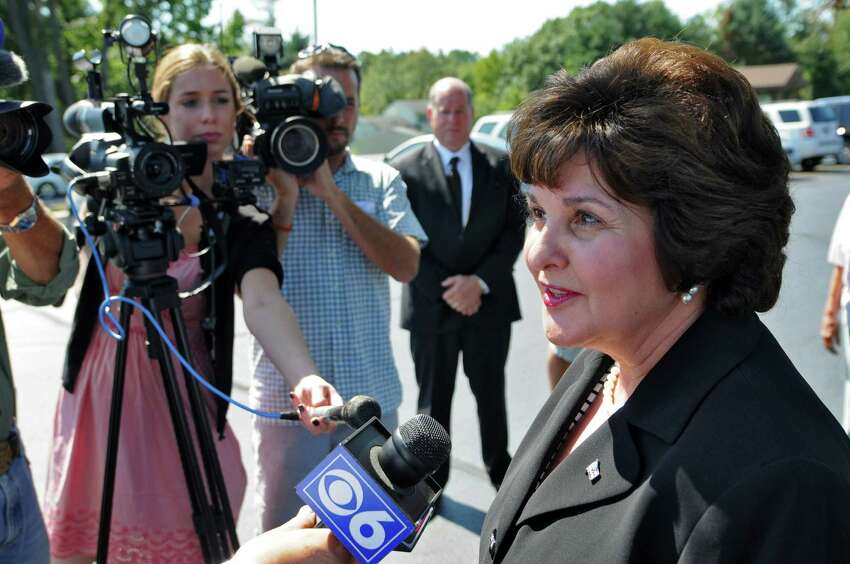 Saratoga County Clerk Kathleen Marchione, a candidate for the State Senate seat held by Roy McDonald, answers reporters questions after voting in the Republican primary at the American Legion Mohawk Post 1450 on Thursday Sept. 13, 2012 in Halfmoon, NY. (Philip Kamrass / Times Union)