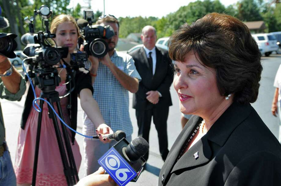 Saratoga County Clerk Kathleen Marchione, a candidate for the State Senate seat held by Roy McDonald,  answers reporters questions after voting in the Republican primary at the American Legion Mohawk Post 1450 on Thursday Sept. 13, 2012 in Halfmoon, NY.   (Philip Kamrass / Times Union) Photo: Philip Kamrass / 00019236C