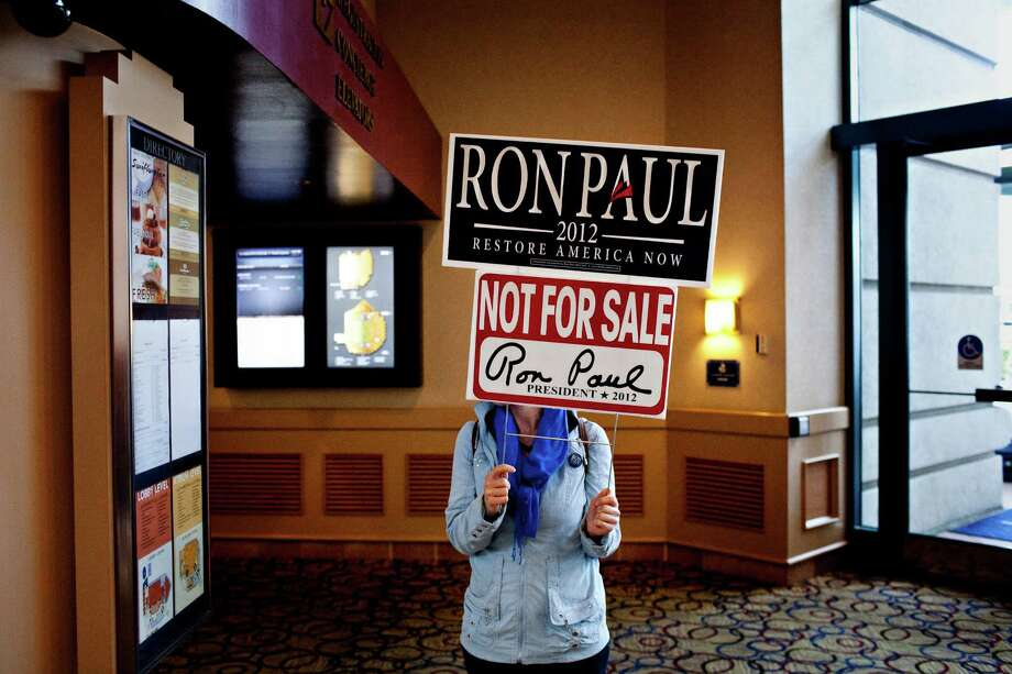 A Ron Paul supporter in the lobby of the Hyatt Regency on day two of the California Republic Party State Convention on Saturday Feb. 25, 2012, in Burlingame, Calif. Photo: Jason Henry, Special To The Chronicle / ONLINE_YES